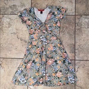 Floral Tee Dress, knot detail w/ peep hole